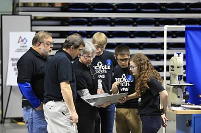 Drive Team Members and Mentors working out strategy at the 2015 Queen City Regional Event in Cincinnati